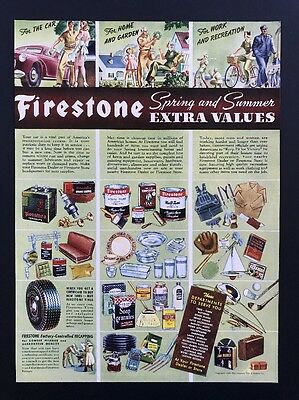 Firestone Tires | 1943 Vintage Ad | 1940s Color Illustration