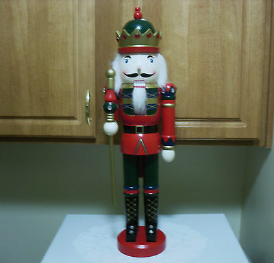 Tall Wooden Nutcracker Soldier 24 inches With Red Faux Crown Jewels-Nice!