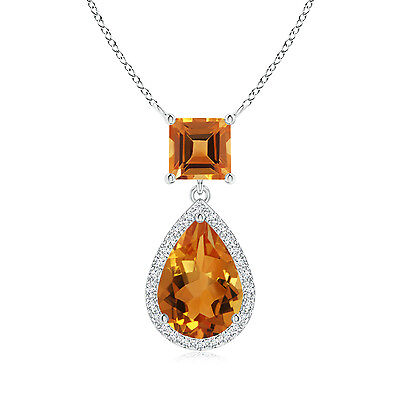 "Natural Pear Citrine With Diamond Halo Pendant Necklace 18"" Chain 14k White Gold"
