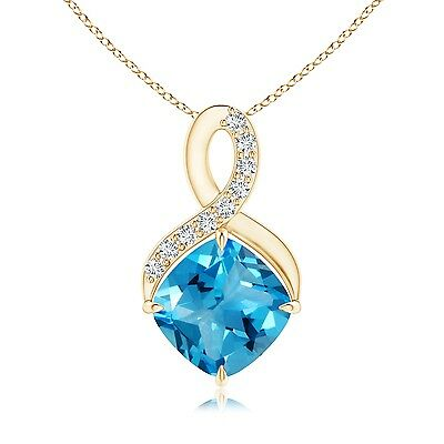"Solitaire Blue Topaz Diamond Infinity Pendant Necklace 14K Yellow Gold 18"" Chain"