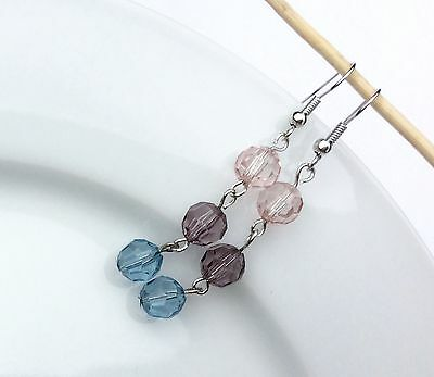 Beautiful Multi Color Bead Silver Plated Dangle Earrings, Hypo-Allergenic Hooks