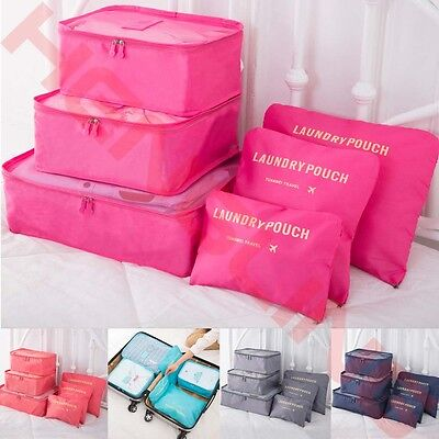 6Pcs Waterproof Clothes Storage Bags Packing Cube Travel Luggage Organizer Set