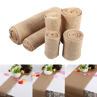 Jute Burlap Lace Hessian Table Runners Vintage Event Party Wedding Home Decor OB