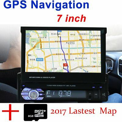 "7"" Single 1 DIN Car Mp5 Player Radio Stereo Head Unit GPS Sat Nav+EU Map+Camera"