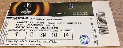 Rsc Anderlecht V Manchester United- April 2017- Europa League Rare Ticket Stub