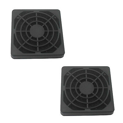 2 Pcs Black Plastic Square Dustproof Filter 40mm PC Case Fan Mesh