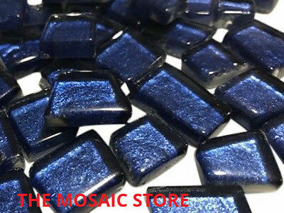 Indigo Blue Irregular Metallic Glass Tiles - Art & Craft Mosaic Supplies