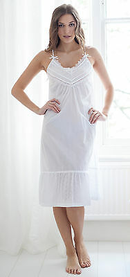 Cottonreal  Lee  Broderie Anglaise 100% Cotton Floral Strappy Nightdress -  White 6412f9753