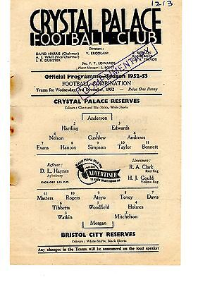 Crystal Palace v Bristol City Reserves Programme 3.12.1952