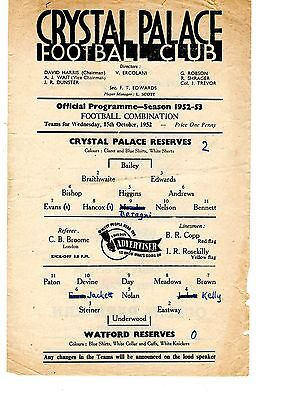 Crystal Palace v Watford Reserves Programme 15.10.1952