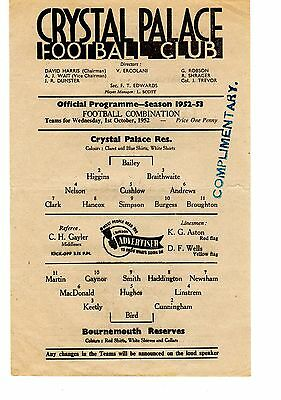 Crystal Palace v Bournemouth Reserves Programme 1.10.1952
