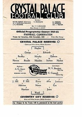 Crystal Palace v Coventry City Reserves Programme 10.11.1951