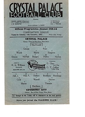 Crystal Palace v Coventry City Reserves Programme 14.11.1953