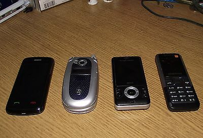4 Mobile Phones. Motoroller T-Mobilesamsung Orange And Sony Ericsson + Charger