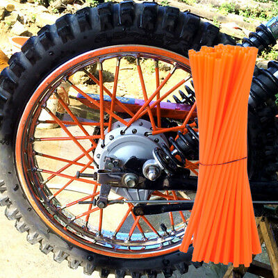 72pcs Orange Wheel Rim Spoke Wraps Covers Rims for Dirt Sports Bikes Motorcycle