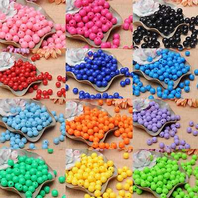 100pcs 8mm Pure Color Acrylic Opaque Smooth Round Plastic Beads Jewelry Making