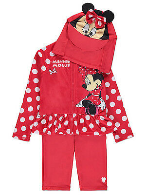Baby Girls UV Swimsuit with Hat Sun Protection Sunsafe 3 Piece Minnie NEW BNWT