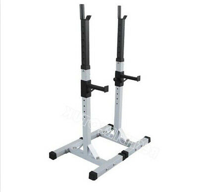 White Heavy Duty Gym Squat Barbell Power Rack Stand Weight Bench Support