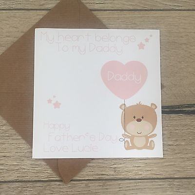 Personalised Handmade FATHERS DAY Card. To Daddy From Child. Add Any Name Pink