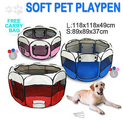 3 Colours Fabric Pet Dog Cat Puppy Playpen Soft Foldable Rabbit Guinea Play