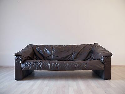 AMAZING VINTAGE 1970s 1980s LEATHER SOFA COUCH DE SEDE STYLE