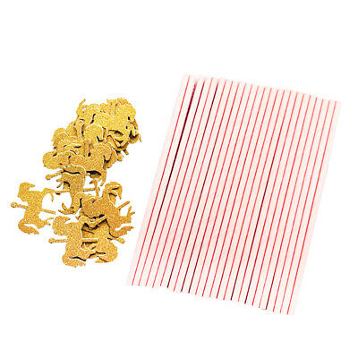 25x Pink Paper Straws with Gold Unicorn Carousel Horse for Kids Birthday
