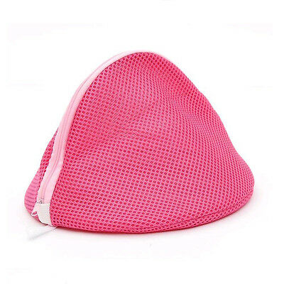 Women Bra Laundry Lingerie Washing Hosiery Saver Protect Aid Mesh Bag Cube -Pink
