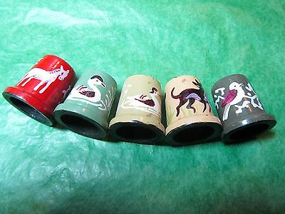 (5) ANIMAL DESIGNS PAINTED WOOD THIMBLES-ASSORTED Lot#A31