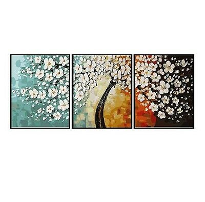 Set of Three 40*50cm Canvas Painting by Number Flower Trees S5 F3P005 AU STOCK