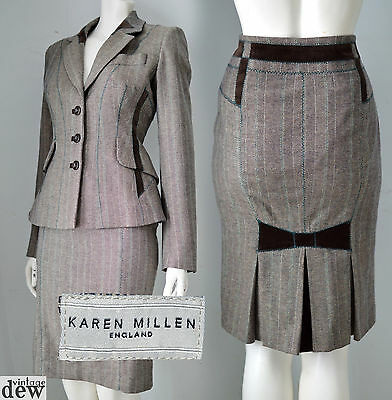 KAREN MILLEN brown TWEED skirt suit JACKET 1940'S WW2 velvet bow RETRO 8 RARE!