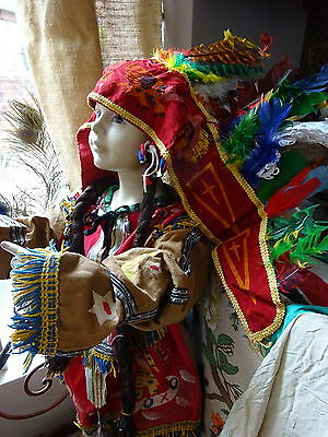 C 1900 Fancy/Theater Costume Child American Indian Vtg Textile Rare Museum Piece