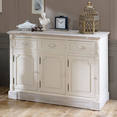 Cream 3 drawer cupboard sideboard hall buffet unit shabby french chic furniture