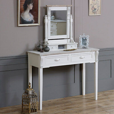 Cream Wooden Dressing Table Mirror Swing Shabby French Chic Bedroom Make Up Desk