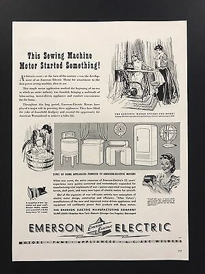 Emerson Electric | 1943 Vintage Ad | 1940s Illustration B&W Home Appliances
