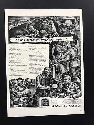 Stromberg Carlson | 1943 Vintage Ad | 1940s Illustration Soldiers Communication