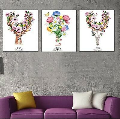 Set of Three 40*50cm Canvas Painting by Number Flower Deers S5 F3P004 HOME DECOR