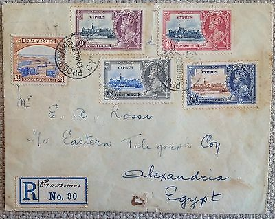 CYPRUS 1935 SILVER JUBILEE REGISTERED COVER with RARE PRODHROMOS RURAL POSTMARKS