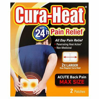 Cura-Heat Acute Back Pain Max Size 2 Patches up tp 24Hour Pain Relief