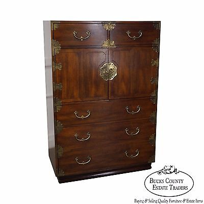 Henredon Vintage Asian Inspired Mahogany Campaign Style Gentlemans Tall Chest