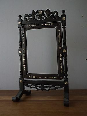 Wood Picture Frame with Mother of Pearl Inlay, Standing with Adjustable Angle