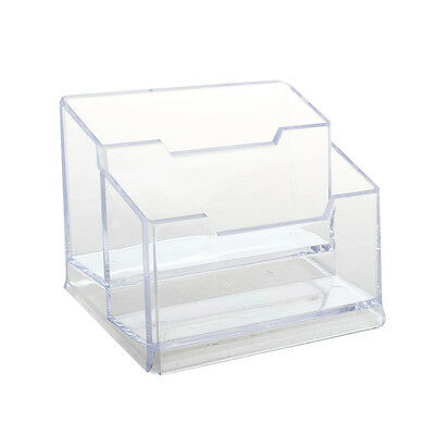 Transparent Plastic Bussiness Card 2-Tier Stand Holder A4J4