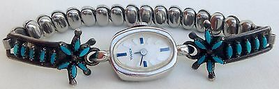 Old Pawn Zuni Sterling Silver & Turquoise Petit Point Mechanical Watch