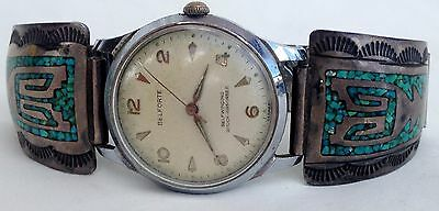Old Pawn Sterling Silver & Turquoise Inlay Arrowhead Belforte Swiss Watch