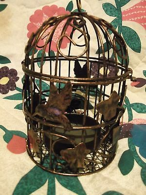 "5""x5"" Bronze tone decorative metal Bird Cage Votive candle Holder"