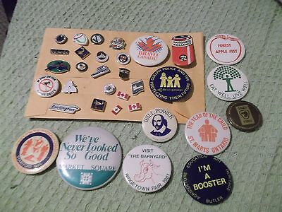 Lot of 31 Pinbacks & Tac Pins collected 1985 to present Southern Ontario Canada
