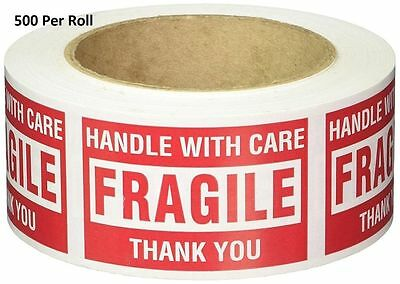 """Caution Stickers """"Fragile Handle With Care"""" Label Tape Roll Packing Shipping Tag"""