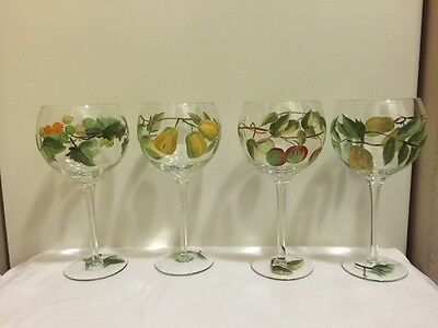 4 Block Hand Painted & Blown Balloon Wine Glasses Harvest Home 2003 Read Ship