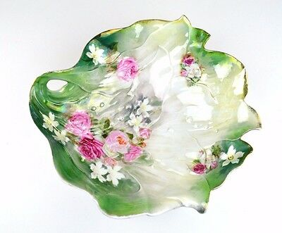 Antique RS Prussia Red Star Mark Bowl Green Leaf Shape Pink Roses White Flowers