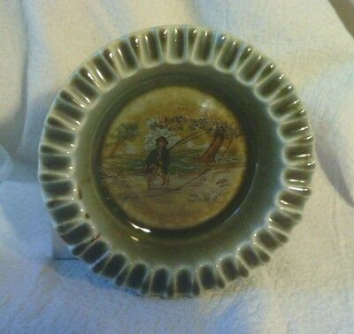 Irish Porcelain Small Dish With Fly Fishing Image Euc