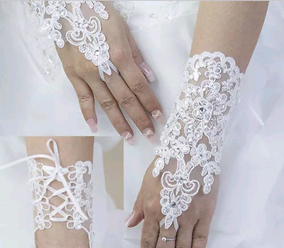 NEW Ladies Womens Wedding Prom Party Ivory Lace Fingerless Rhinestone Gloves